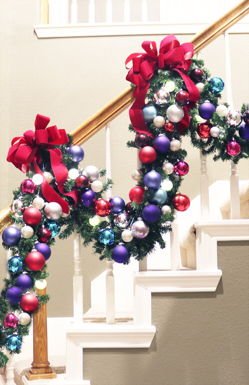 Christmas garland with many basic colorful sphere ornaments
