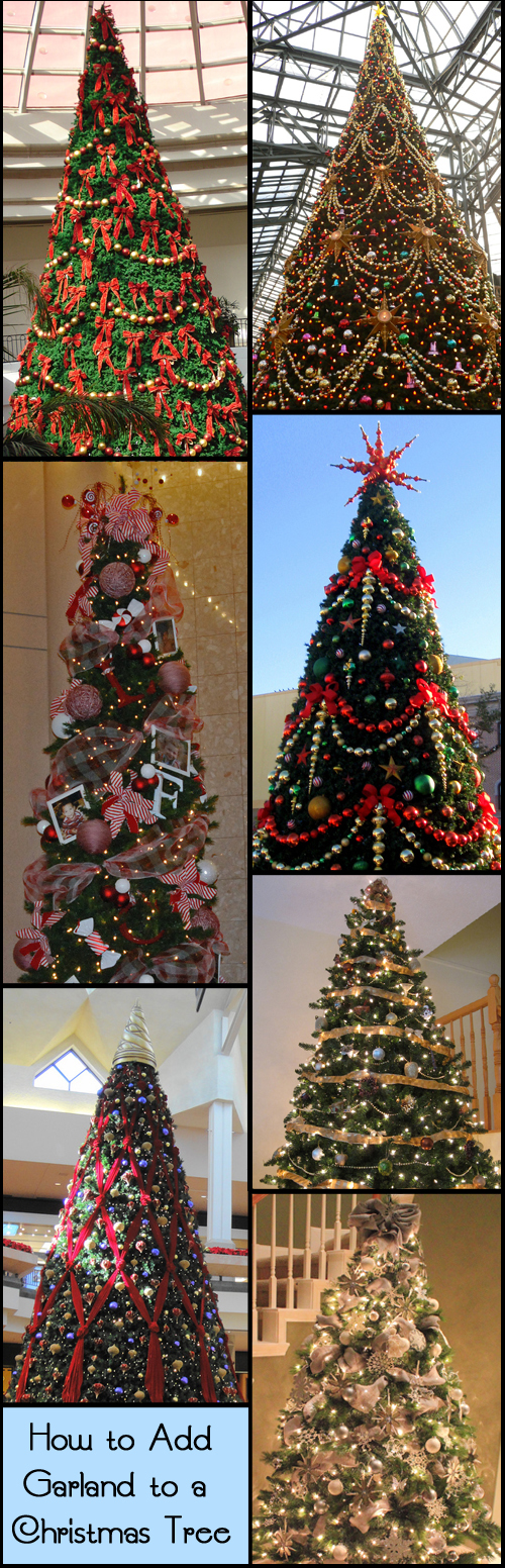 Different ways to add garland to a Christmas tree